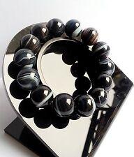 Bracelet en Agate de Botswana Lithothérapie Bijoux en Pierre Minéral Naturelle