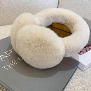 Womens Foldable Winter Real Rabbit Rex Fur Earmuffs Earlap Ear Muff Protector