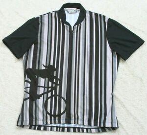Medium Sugoi Black & Gray Polyester Cycling Biking Bike Jersey T-Shirt Half Zip