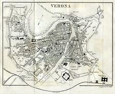 Pianta di Verona. Carta Topografica.Geografica.Stampa Antica + Passepartout.1856