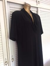 Designer Shinto Black Dress w Cowl Neckline Short Sleeves Midi Length Size 20-22