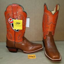 Womens Size 9 D JUSTIN Brown with Burnt Orange L2659 Cowboy Boots Square Toe