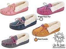 Ladies Real Suede Faux Sheepskin Fur Lined Moccasin Slippers JO & JOE Shoes