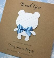 Personalised Thank You For A Beautiful Grandson card Teddy Blue