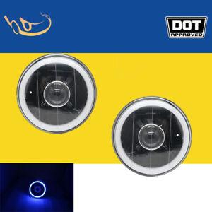 "5"" Inch Round LED Blue Halo Angel Eye Black Lens Projector Headlights Lamp Pair"