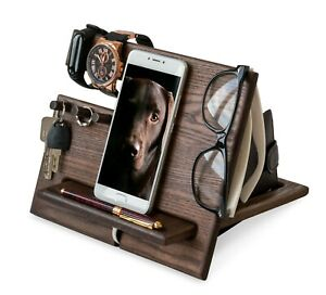 Wood Phone Docking Station Ash Hooks Key Holder Wallet Stand Watch Organizer Men