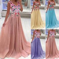 Women Lace Applique Elegant Coral Bridesmaid Long Dress Wedding Guest Dress