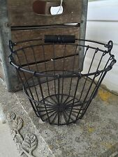 Primitive Black Wire Egg Basket Wood Handle Farmhouse Decor