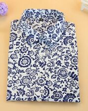 Size 12 Brand New Ladies Office Smart Wear Long Sleeves White Blue Floral