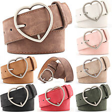 Women Lady Heart Buckle Waist Belt PU Leather Fashion Elastic Waistband Jeans