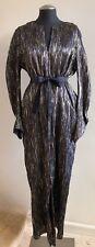 NWOT ZERO + MARIA CORNEJO Crinkled Silk-Blend Martin Belted Dress   Sz:12   Gold