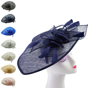 Large Flower Feather Hair Hat Fascinator Headband Party Wedding Occasions Race