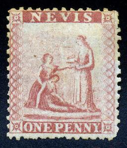Nevis. 1861. 1d. Lake Rose. SC# 5. SG# 1. Unwmk. Perf 13. NGH