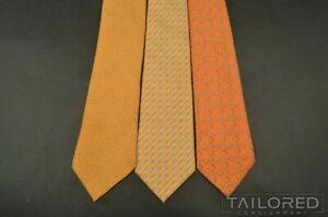 LOT of 3 - HERMES 614 SA 59 EA 7926 MA Yellow Geometric Silk Mens Luxury Ties