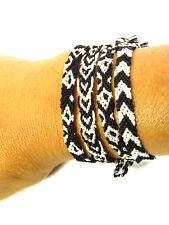 Schönes Freundschaftsarmband Armbänder  schwarz-weiß Seide Unisex Damen NEU