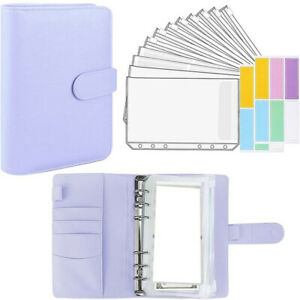 A6 PU Leather Notebook Binder Budget Planner Organizer Cover Pockets Cash Wallet