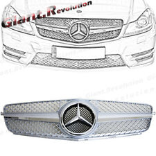 All Silver SL Design Front Grille For 2012-2014 M-BENZ W204 C250 C300 2DR 4DR