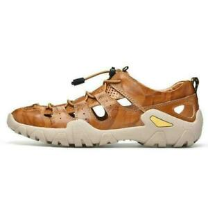 Summer Men's Hiking Leather Sandals Closed Toe Fisherman Beach Outdoor Shoes sz
