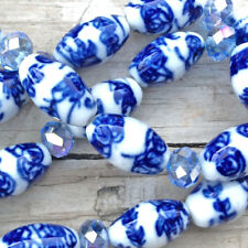 Blue White China Rose Vine Flower Motif 17x10mm Oval Ceramic Beads Q2 Strands