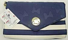 Disney Boutique Minnie Mouse Nautical Faux Leather Crossbody Purse Wallet Clutch