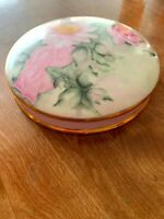 """Reproduction Victorian Hand Painted Round Floral Lidded Trinket Box 9"""" Diam"""