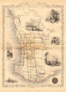 WESTERN AUSTRALIA, SWAN RIVER. Perth vignette. Counties.TALLIS/RAPKIN 1849 map