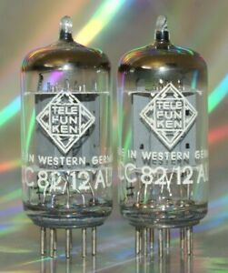 2x ECC82 Telefunken <> Röhre Tube Röhrenverstärker Audio Amplifier Matched Pair