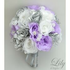 17 Piece Package Silk Flower Wedding Bridal Bouquet Decoration LAVENDER SILVER