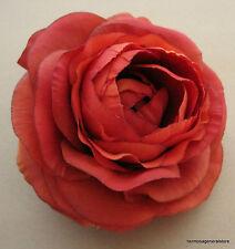 "3 1/2""  Orange Ranunculus Silk Flower Hair Clip, Wedding, Prom, Dance,Bridal"