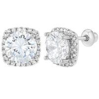 Rhodium Plated Crystal Clear CZ Evening Elegant Screw Back Women's Earrings