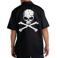 Dickies Black Mechanic Work Shirt Distressed Skull White Ink Motorcycle Biker