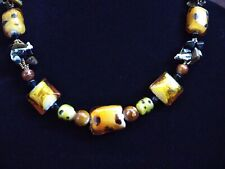 """Art Glass Multicolor Bead Necklace 18"""" Adjustable Lobster Claw Clasp"""