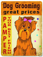 DOG grooming METAL SIGN KENNEL canine pet store display vintage style decor 214