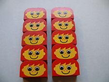 Lego 10 briques rouges visages set basique / 10 red bricks with face pattern