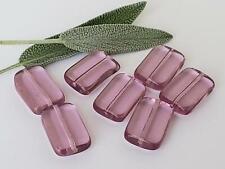Vintage Glass Beads ~Sleek Translucent Rectangle Light Purple Jewelry Making NOS