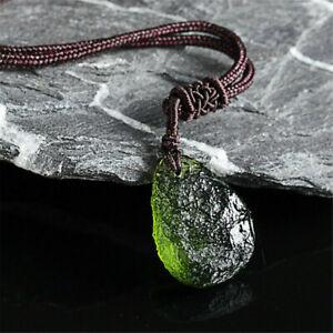Natural Green Moldavite Aerolites Crystal Stone Pendant Energy Chakra Necklace