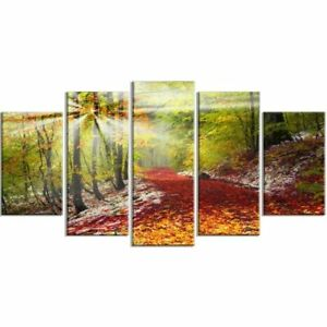 Green Tree Glass Sun Canvas Prints Painting Wall Art Poster No Frame 5 Pieces