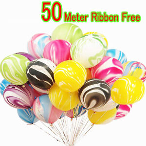 Helium/Air Marble Latex Vibrant Colors Balloons For Birthday 10/20/ 50/100pcs UK