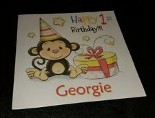 PERSONALISED BABY'S 1ST BIRTHDAY CARD - CHEEKY MONKEY... SON/GRANDSON... NEPHEW
