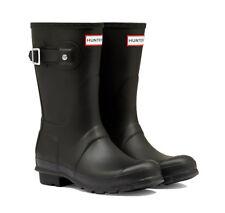 New Womens Original Short Wellington Boots Ladies Hunter Wellies Black Size UK 4