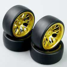 4PCS 1/10 RC Speed Drift Racing Car Slick Tires Tyre &Wheel Rims Set For HPI DHG