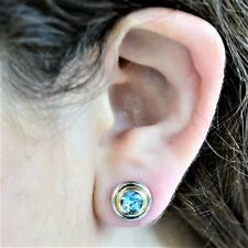 NATURAL BLUE TOPAZ EARRINGS GENUINE 9K GOLD STUDS GIFT BOXED VALUATION $1500 NEW
