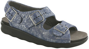 SAS Women's Shoes Relaxed Sandal Silver Blue 8.5 Wide FREE SHIPPING New In Box