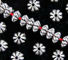 50 x ANTIQUE SILVER~RONDELLE / FLOWER~TIBETAN STYLE~SPACER BEADS~6 MM x 3 MM