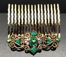 Gold Emerald Green Crystal Vintage Formal Wedding Crystal Hair Comb Clip 5.2cm