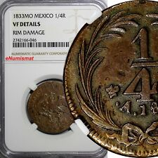 Mexico FIRST REPUBLIC Copper 1833 Mo 1/4 Real Federal  NGC VF DETAILS KM# 358