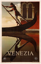 VENEZIA, Vintage Italian Travel Reproduction Rolled CANVAS PRINT 24x36 in.