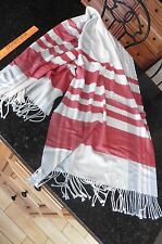 GAP scarf shawl fringed wrap Red white & gray Super SOFT thick warm