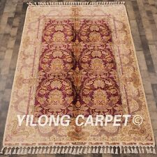 Yilong 5.6'x8.3' Antique Hand knotted Country Carpet Handmade Silk Area Rug C41A