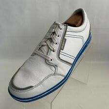 Ashworth Golf Cardiff ADC Spikeless White Leather Gray Blue Lace Up Shoes Sz 10